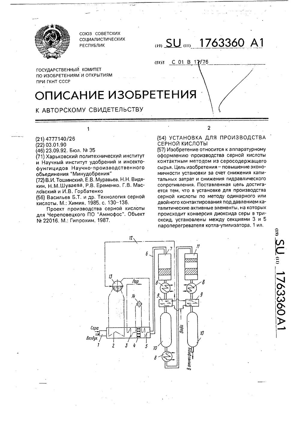Функциональная схема производства серной кислоты из серы